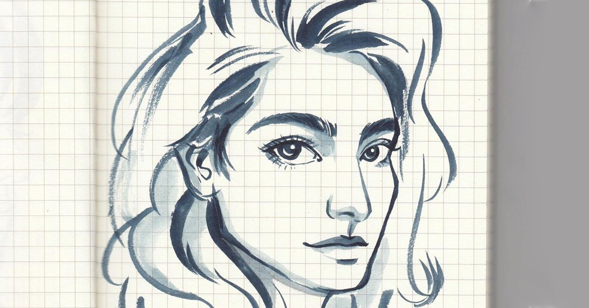 Who's That Girl? — Brush-pen quick sketching by Meanapas